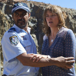 1.3949. Lucy Lawless as ALEX WISHAM with Aaron Pedersen as TIM SIMONS in THE CODE. A Playmaker Production for ABC TV. Photo Simon Cardwell